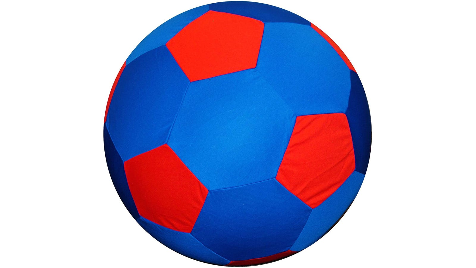 a blue horse ball with red patches that resembles a soccer ball
