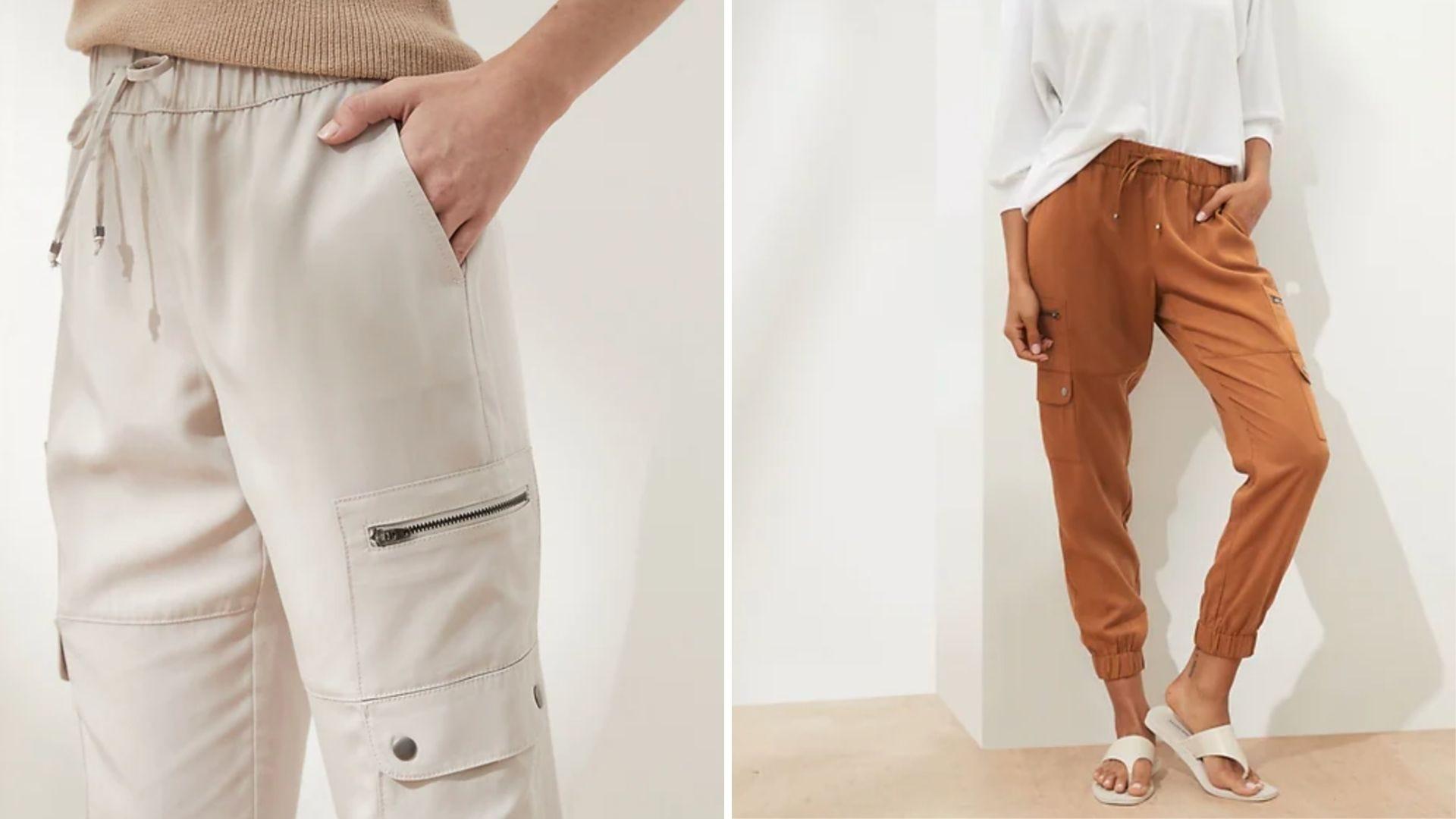 A woman wears white pants and a woman wears burnt orange pants