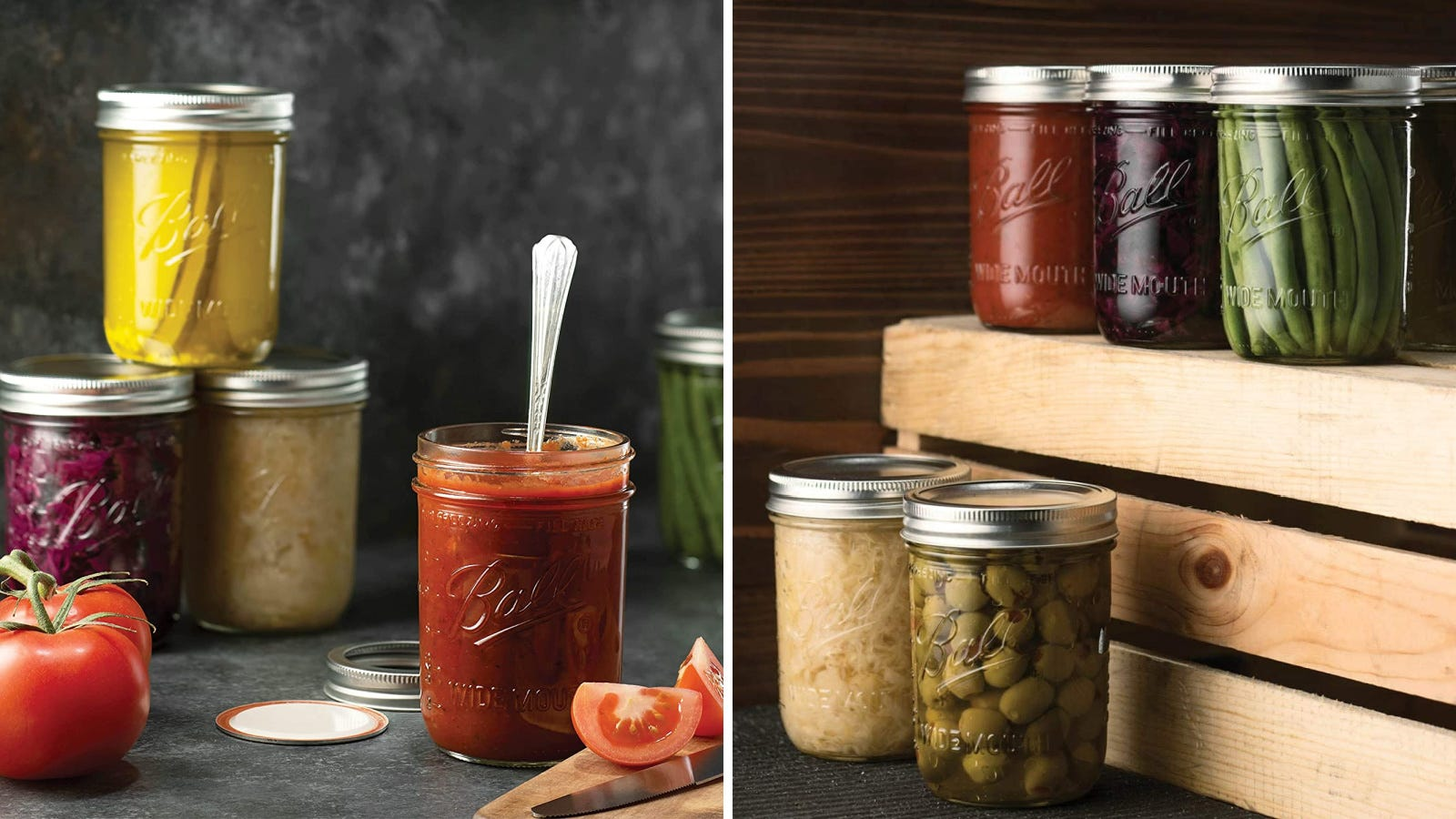 Two images featuring Ball mason jars filled with various pickled ingredients.