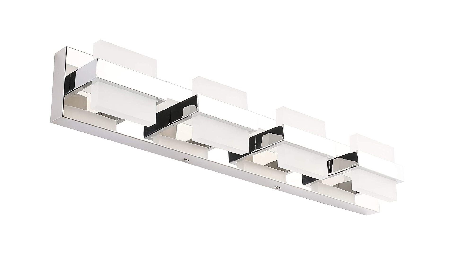 chrome-finished rectangular light with frosted glass