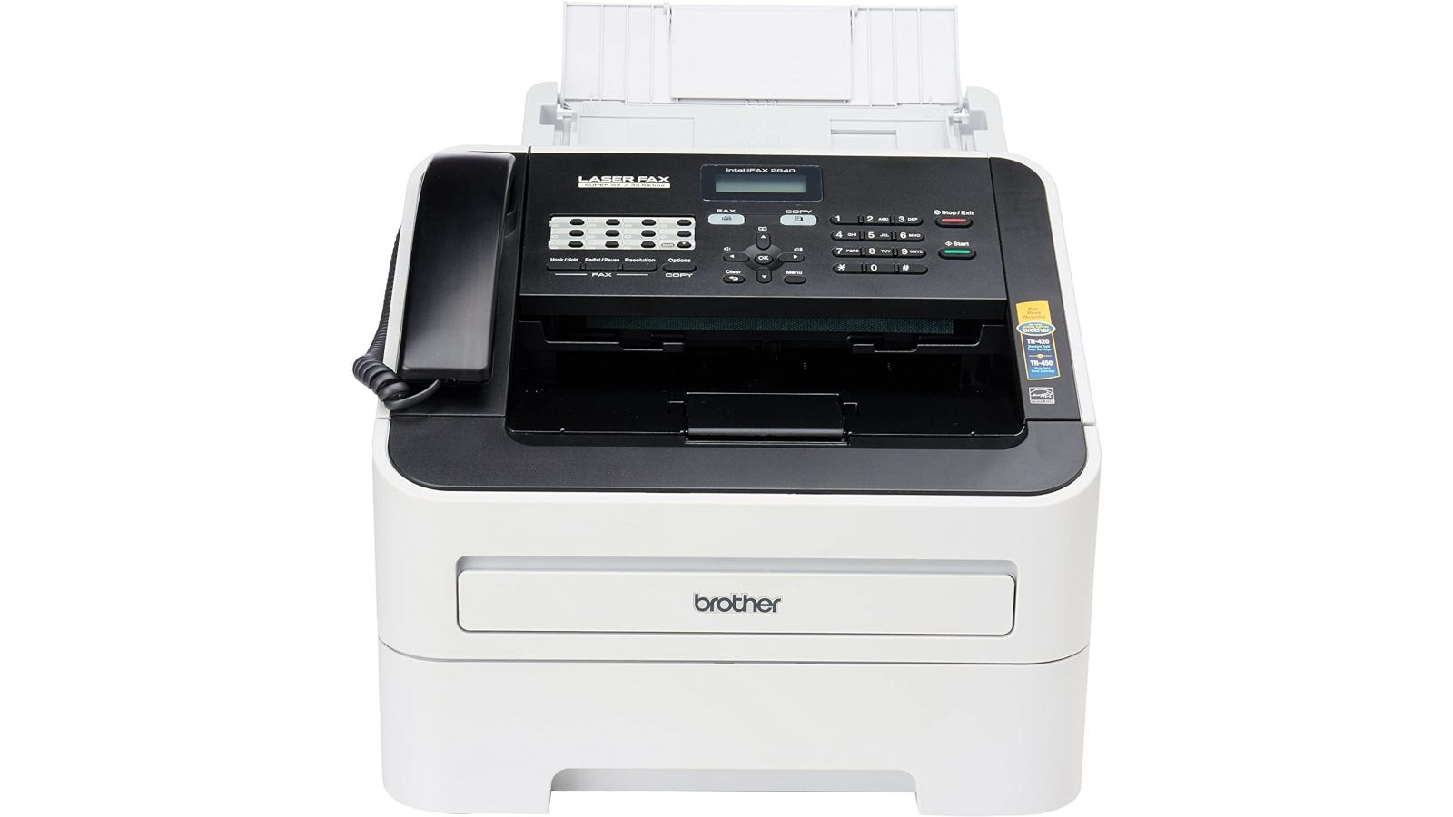 white and black fax machine with 20-page auto-feeder and 16MB memory