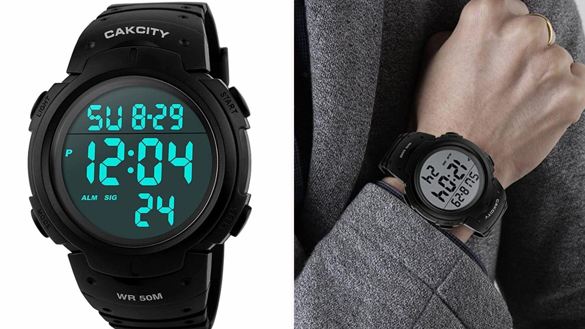 a black digital sports watch with aqua numbers shown on a man's wrist