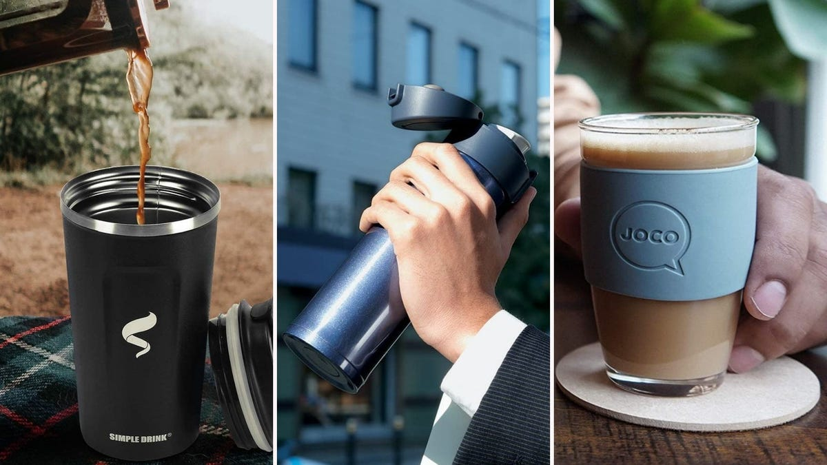 three different reusable drink mugs; one has coffee being poured into it, one has an open lid, one