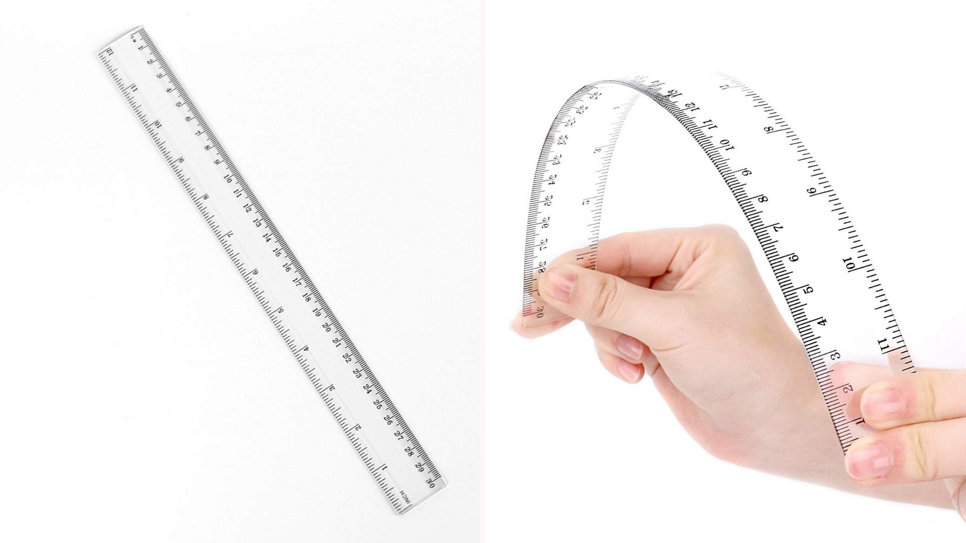 dual view straight clear ruler and person bending the ruler