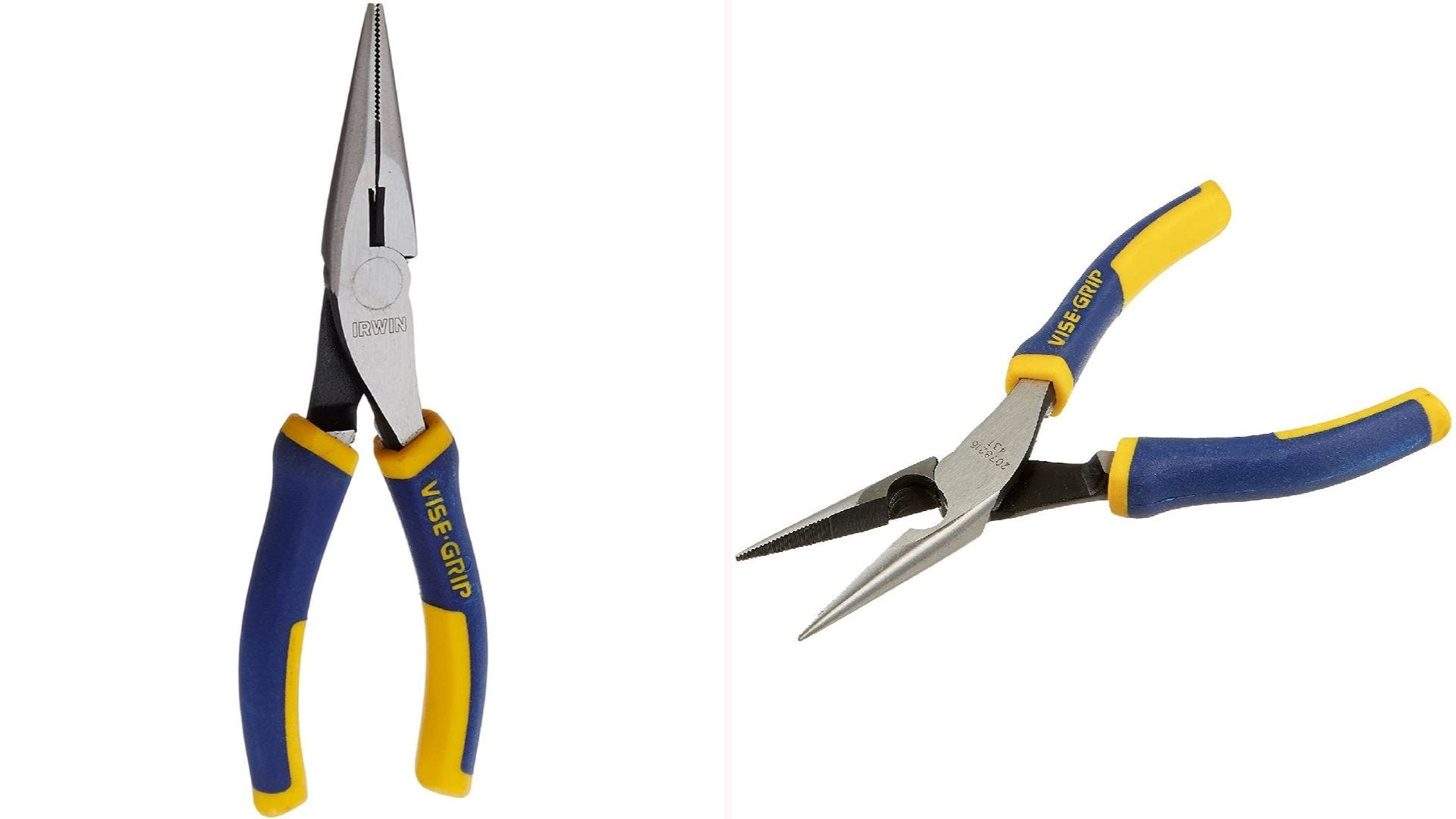 On the left, a front view of needle-nose pliers in its closed position. On the right, a side view of needle-nosed pliers in an open position.