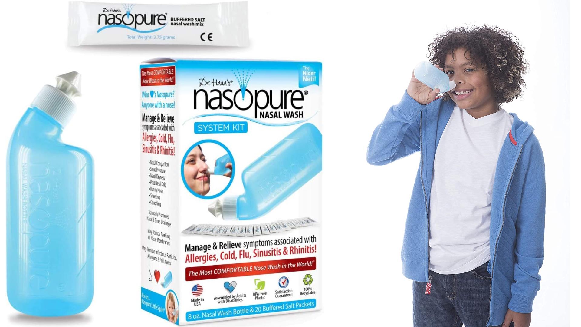 nasopure neti pot nasal irrigation system with a boy demonstrating use