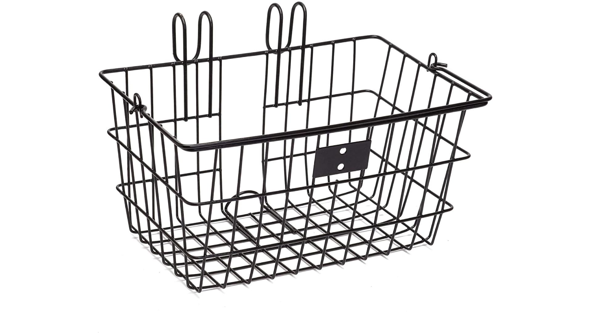 a metal bike basket