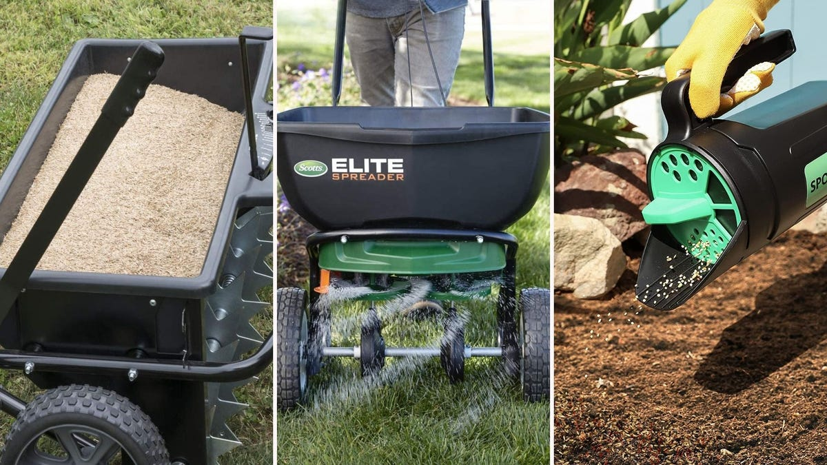 three different seed spreaders being used outside; two push and one handheld