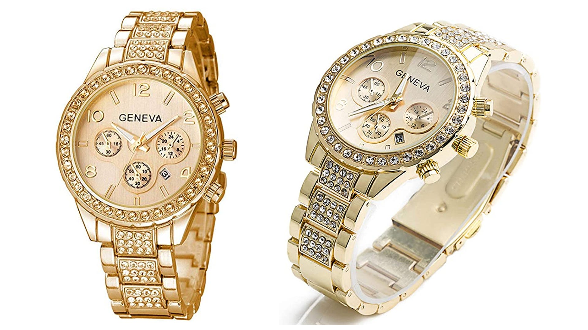front and side view two different tones gold watch with crystals and decorative chronograph