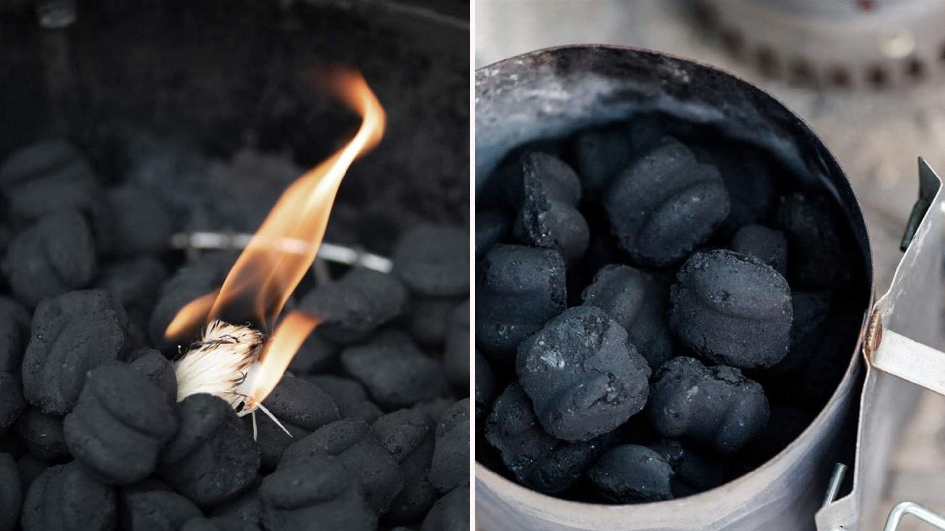 Small pieces of charcoal burning.
