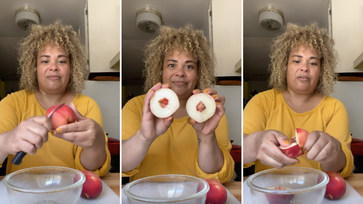 Three photos show a woman cutting a peach without leaving behind any fruit on the seed.