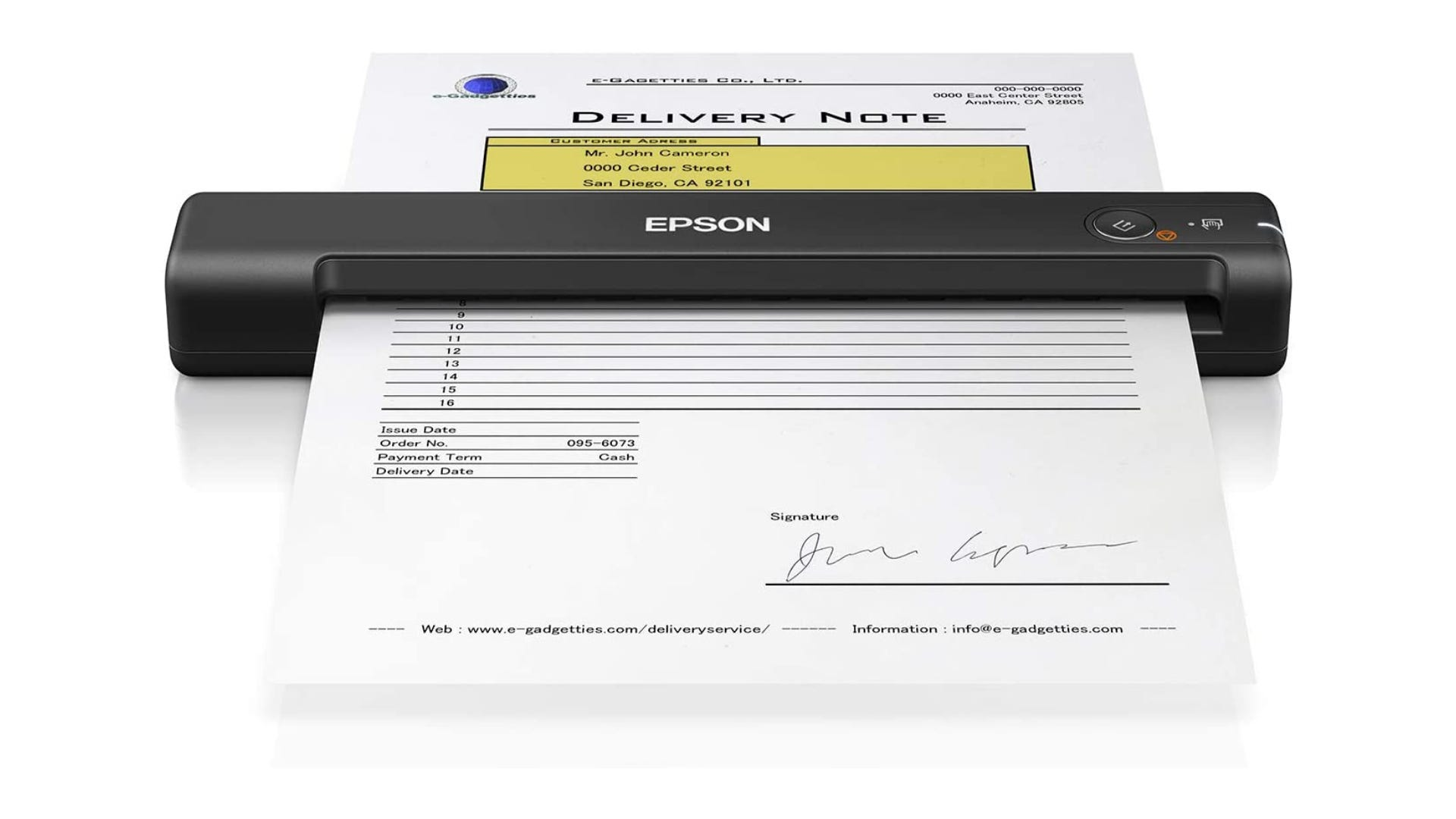 A small document scanner scanning a document.