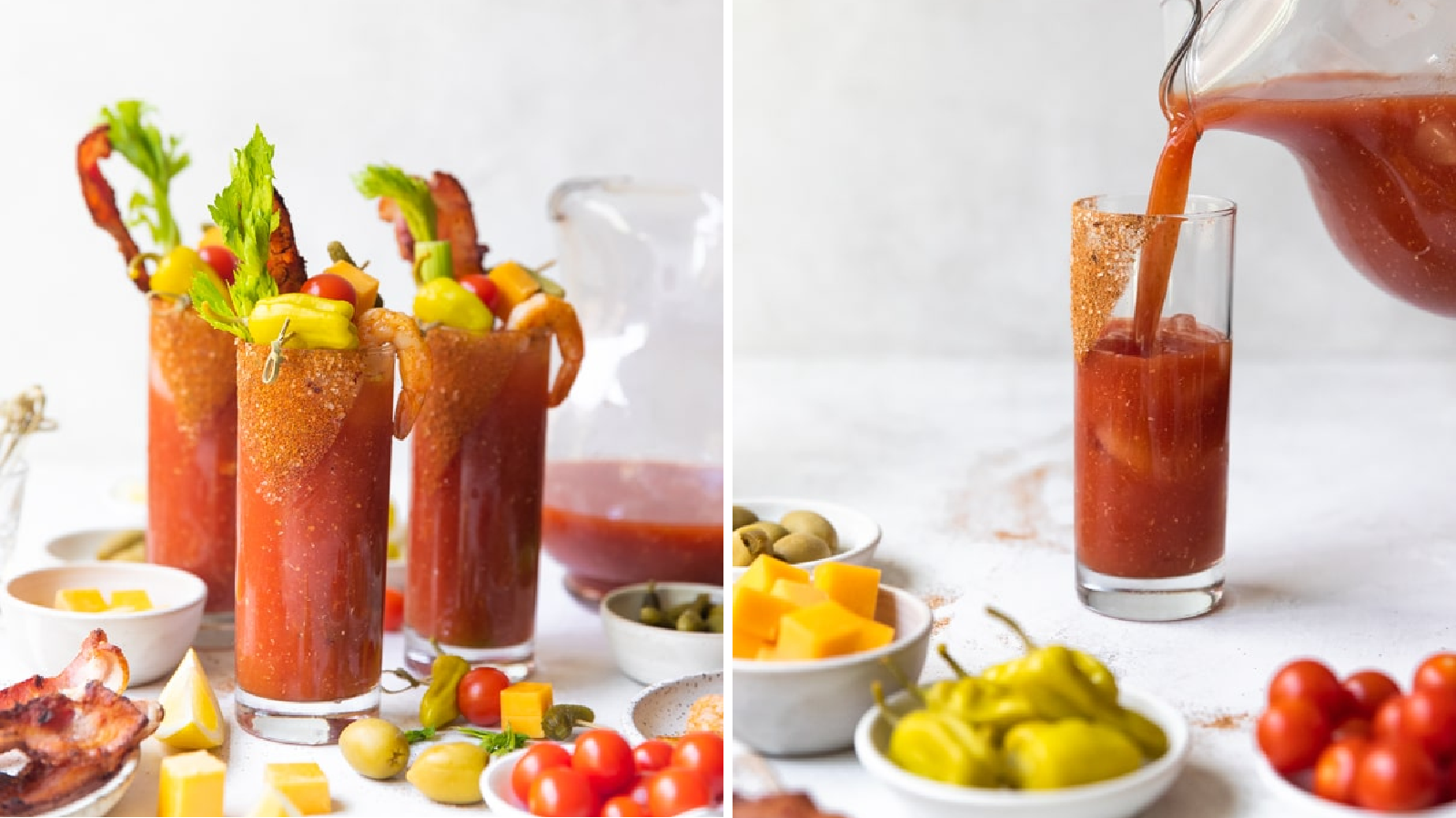 Two images of a spicy bloody mary filled with garnishes like pepperoncinis, pickles, tomatoes, celery, shrimp and bacon including an image of one being built.