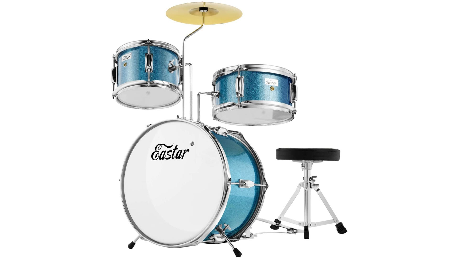 bright-colored drum set with bass drum, snare drum, tom, and cymbal.