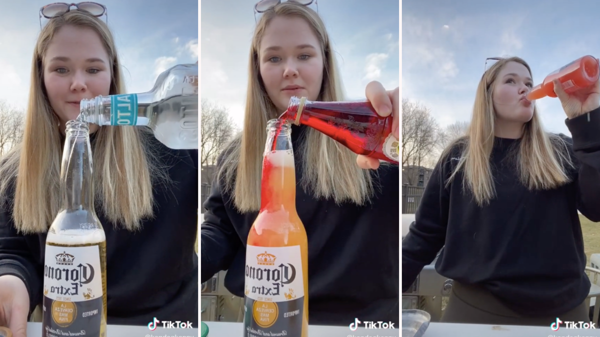 A girl mixes tequila, orange, juice, grenadine, and lime into a corona.