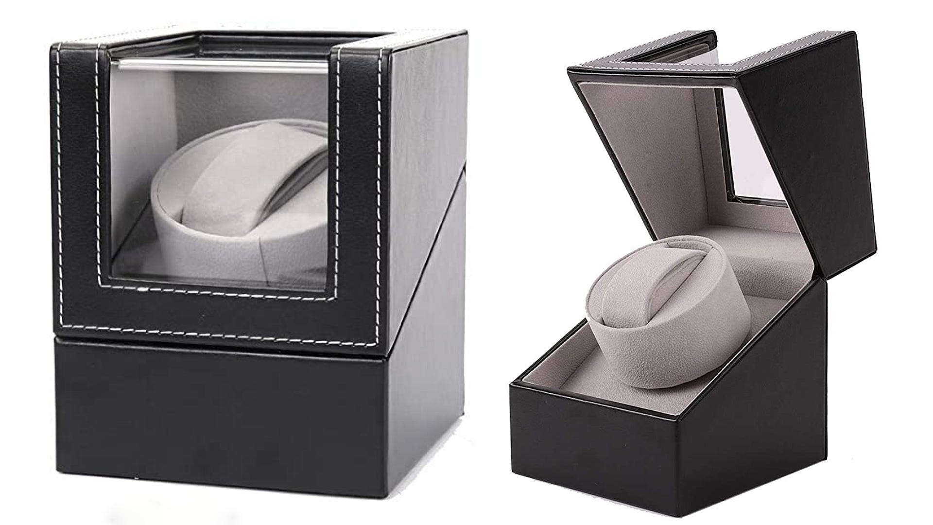 Two views of a leather watch winder closed and opened to reveal a grey interior and inner pillow.