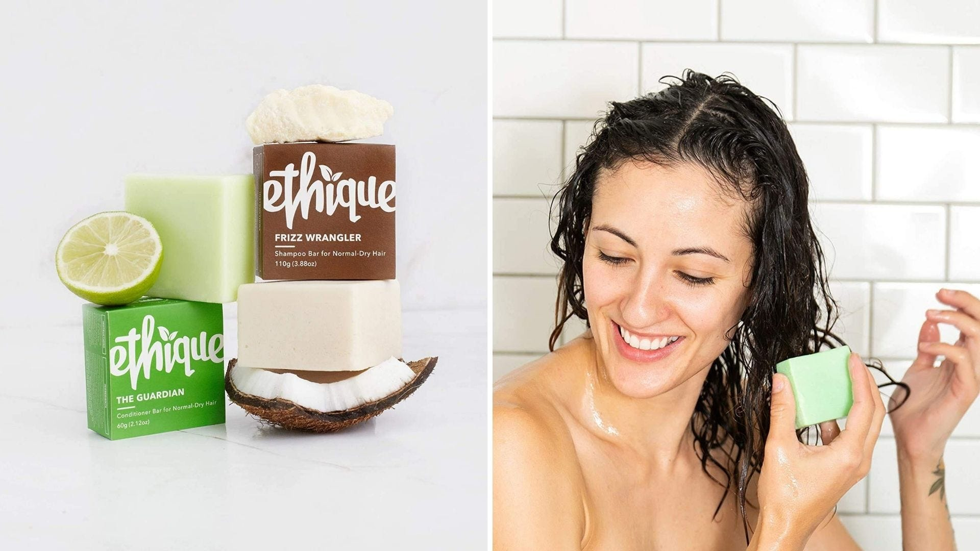 A shampoo and conditioner bar set and a woman washes her hair with a shampoo bar
