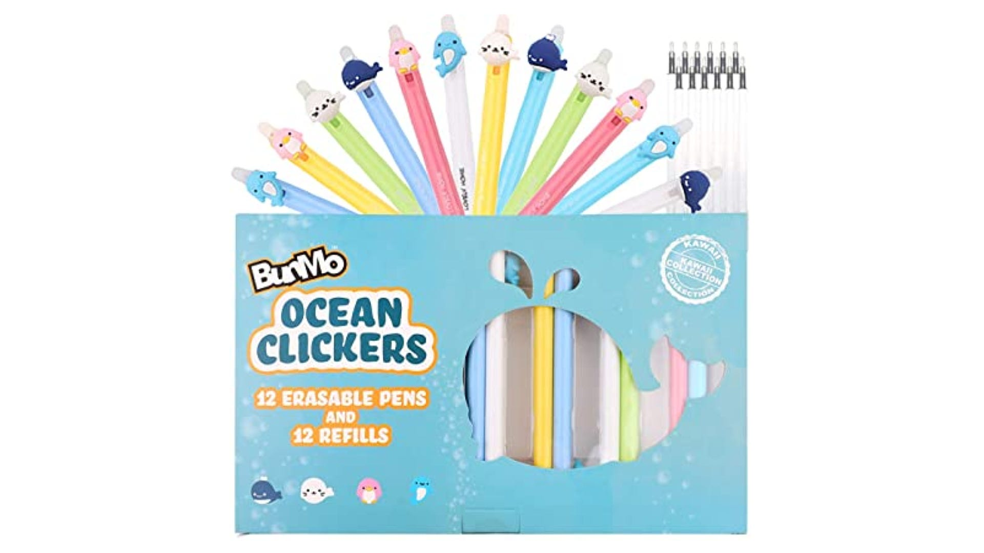 Baby ocean animal-themed erasable pens in a light blue package.
