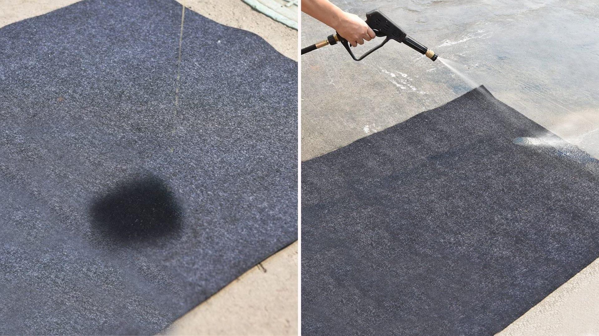 A garage floor mat being washed.