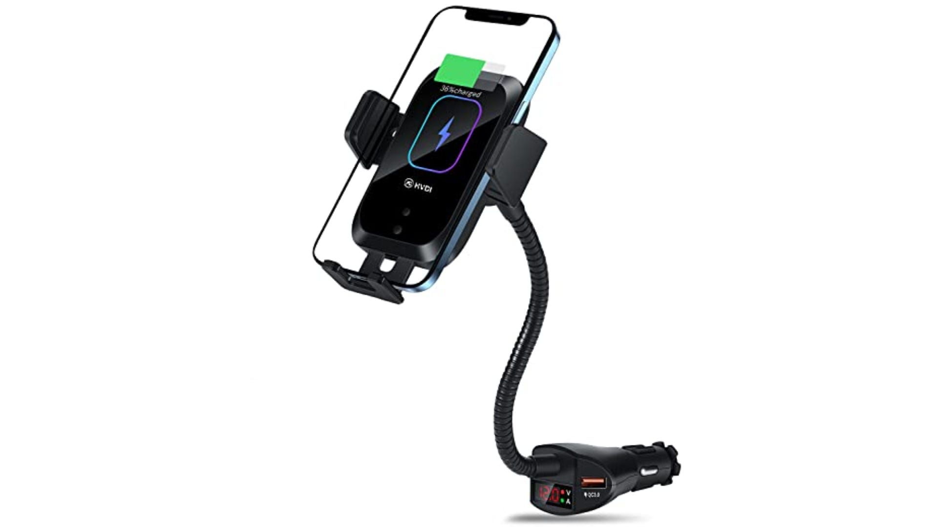 A cigarette holder charging car phone mount with a goose neck design.