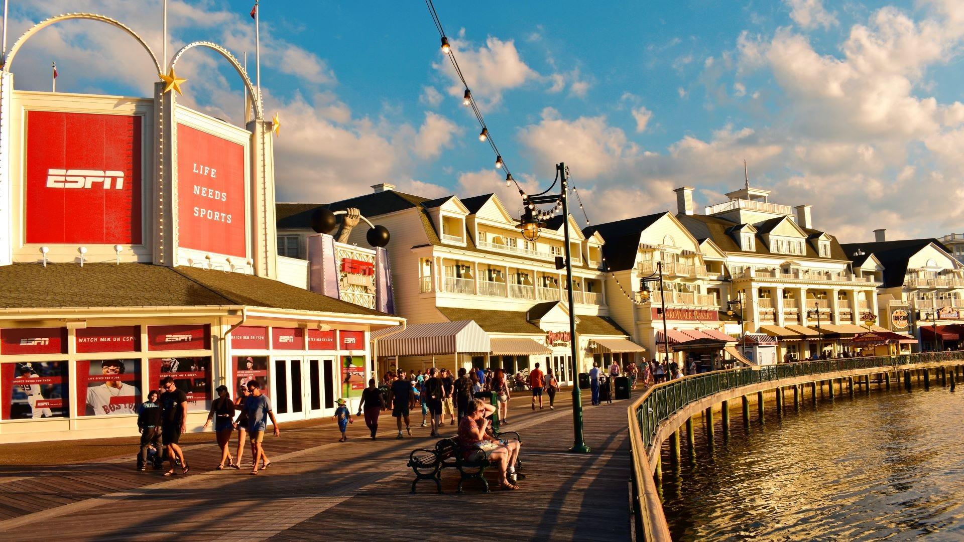 The Disney boardwalk on Lake Buena Vista in Orlando, Florida.