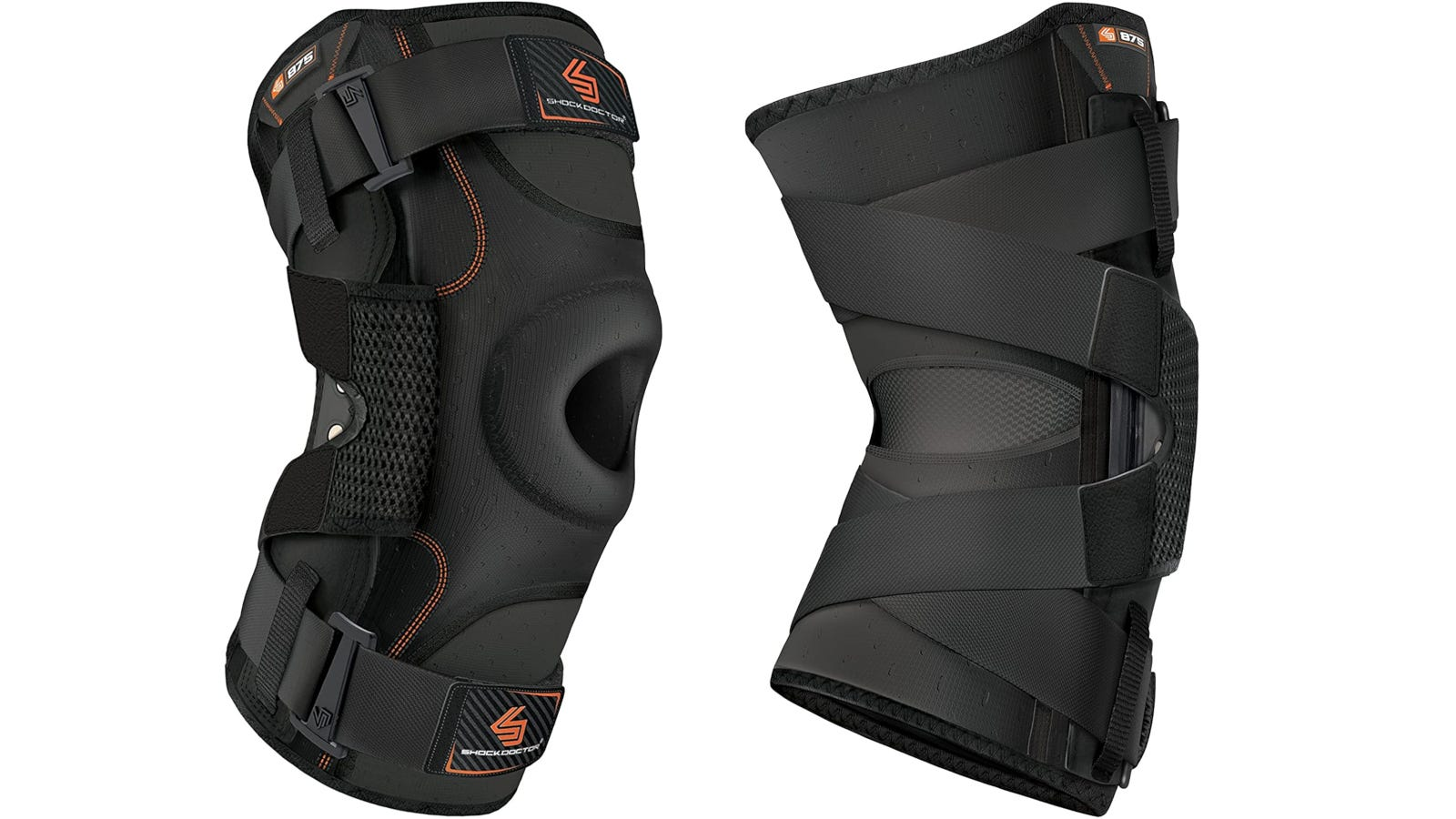 A black hinged knee brace with open patella design and two straps.