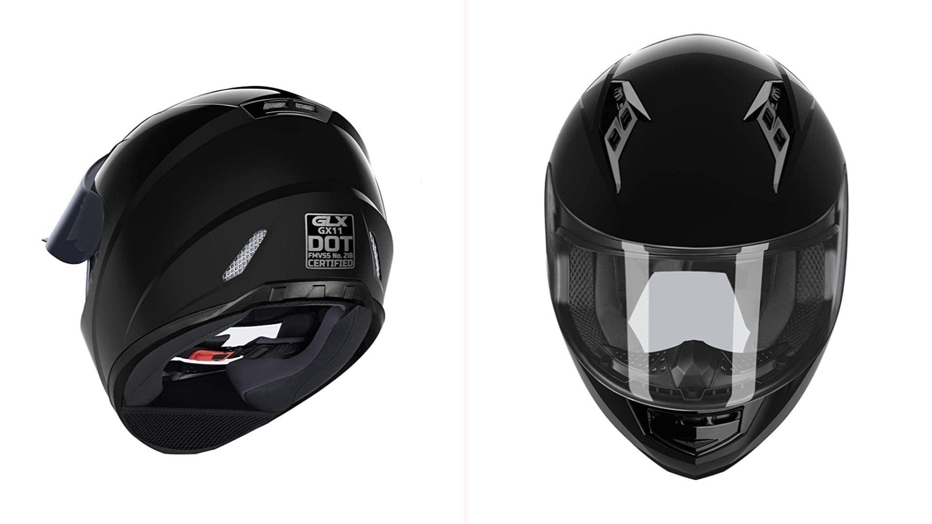 A front and back view of a pearlescent black full-face helmet with a buckle chin strap.