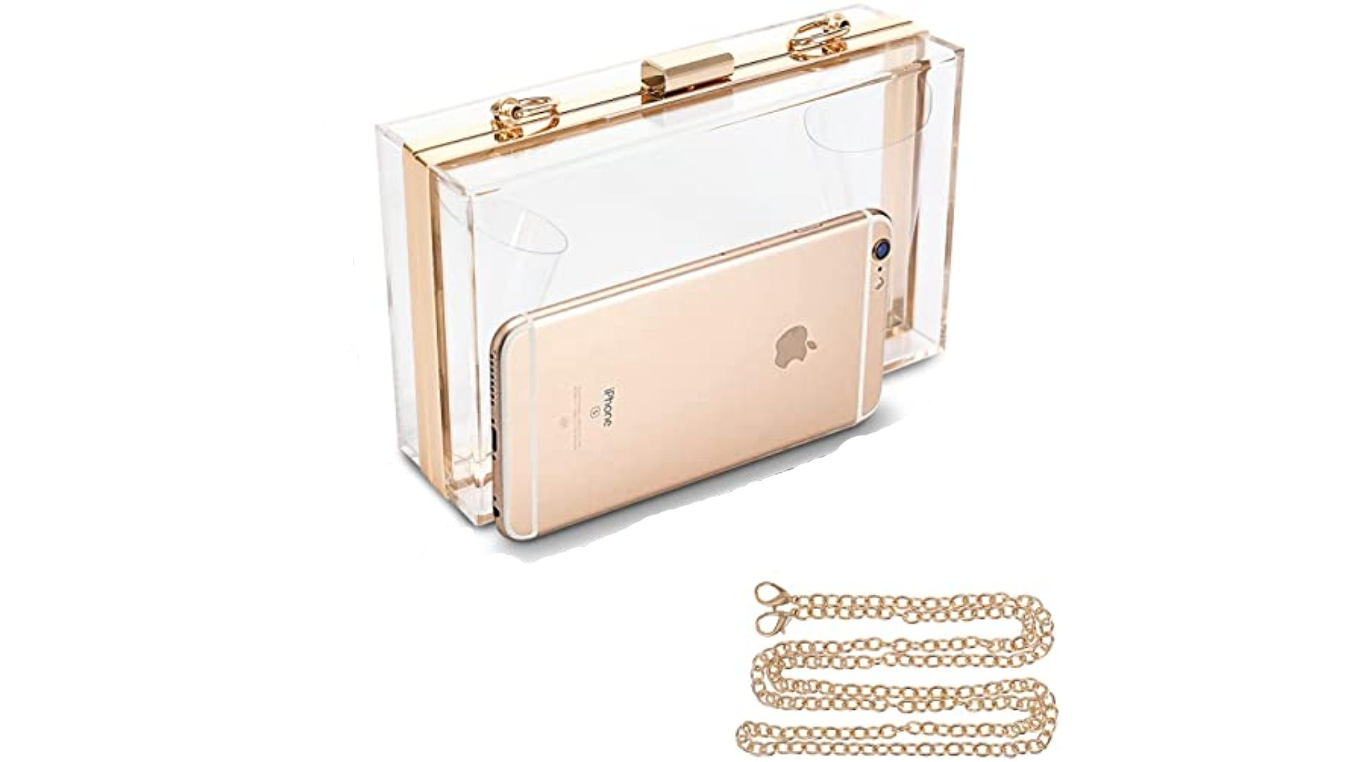 hard-bodied clear clutch bag with gold chain strap beside cellphone