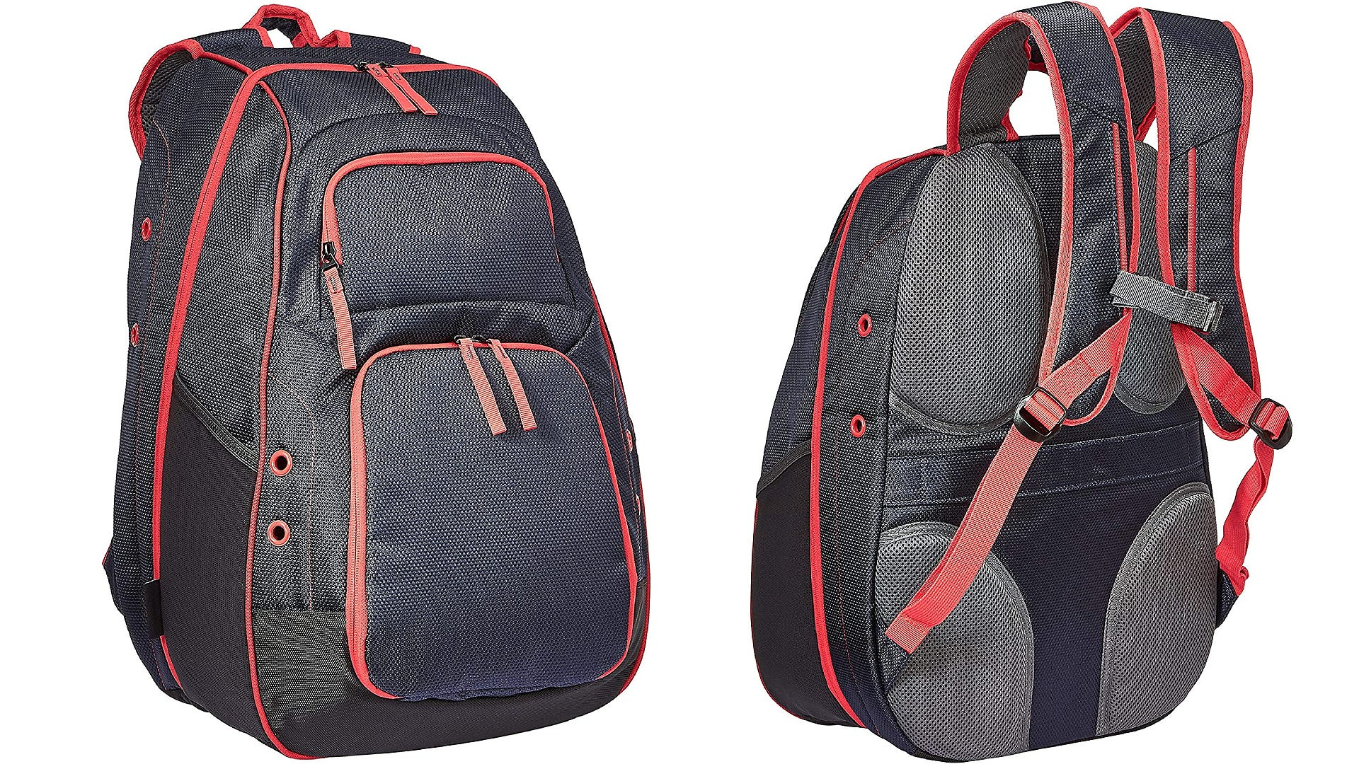A front and back view black backpack with red accents.