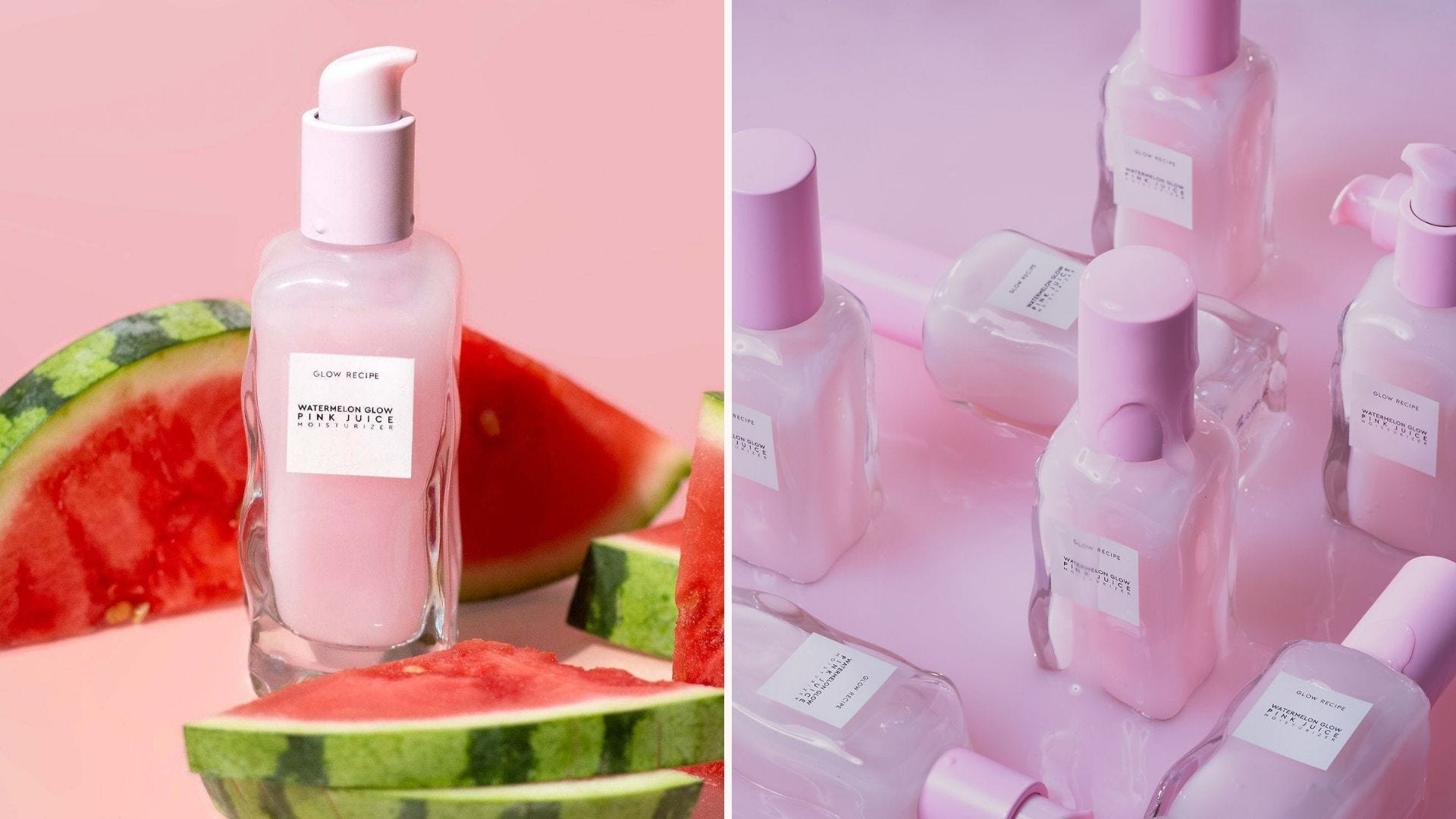 A pink bottle of moisturizer next to watermelon slices; several pink bottles arranged in rows