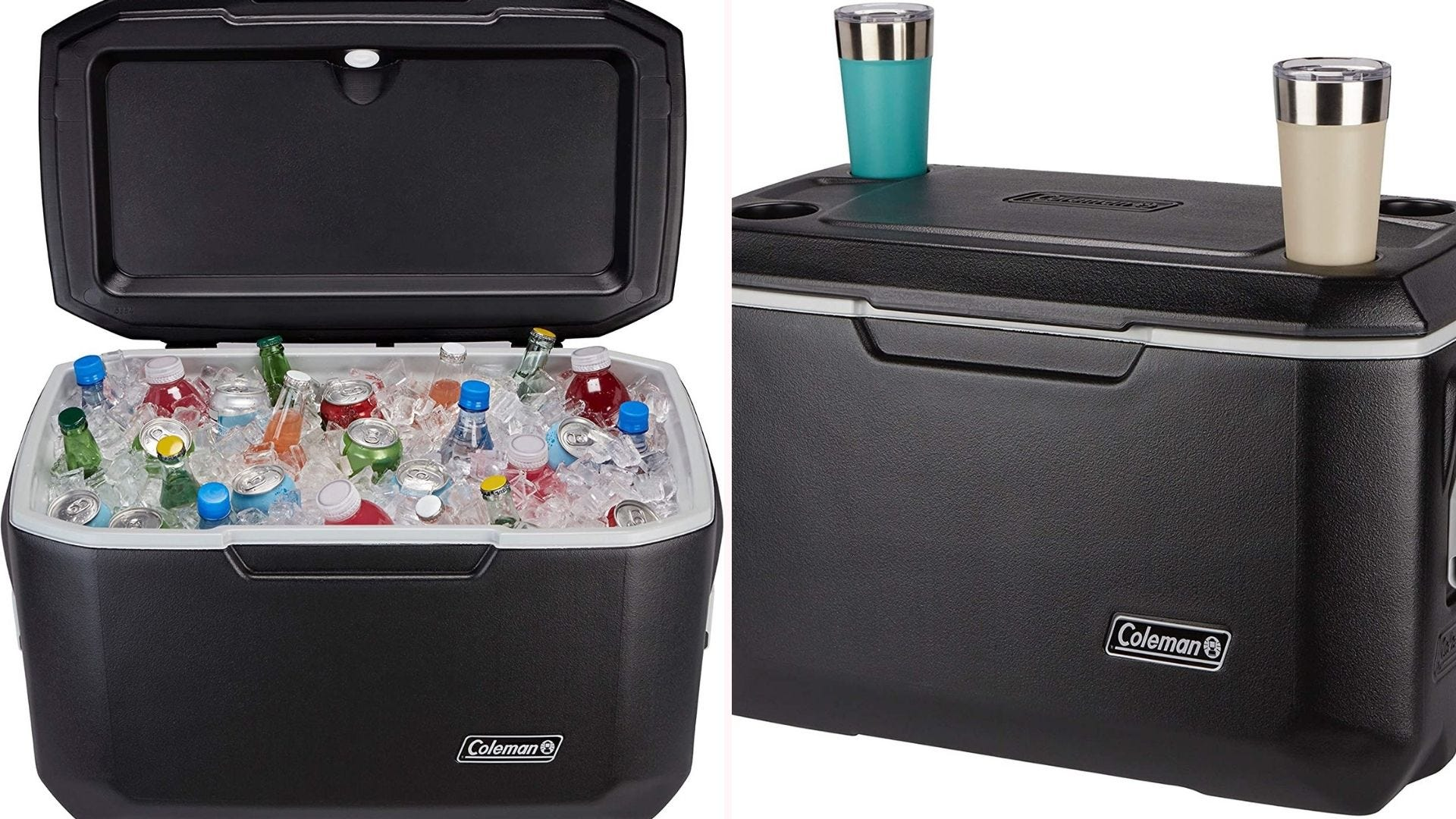 An open cooler filled with cans and ice; a closed cooler with two tumblers sitting on top