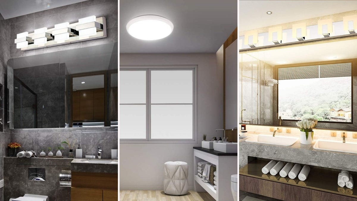 three different bathrooms with three different light fixtures