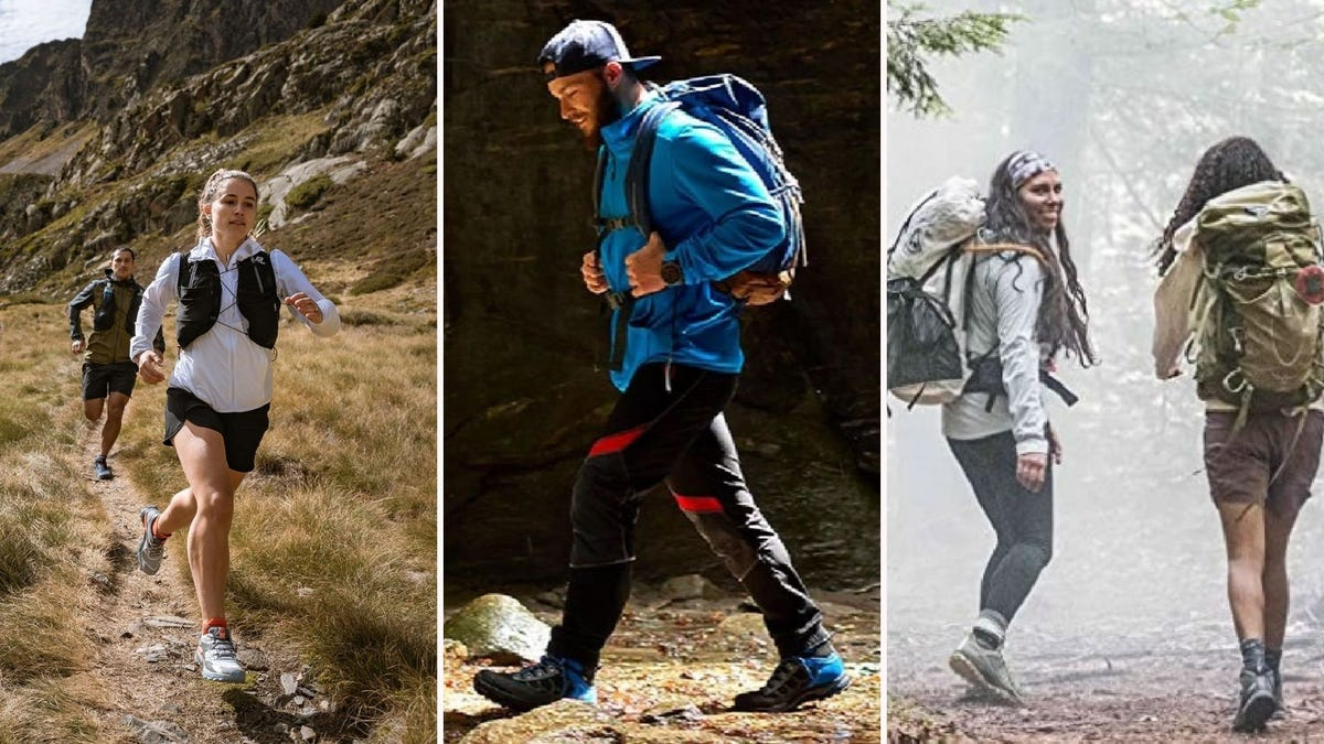 Three images featuring hiking footwear from the article below including Salomon trail runners, Asolo backpacking boots and Merrell hiking boots.
