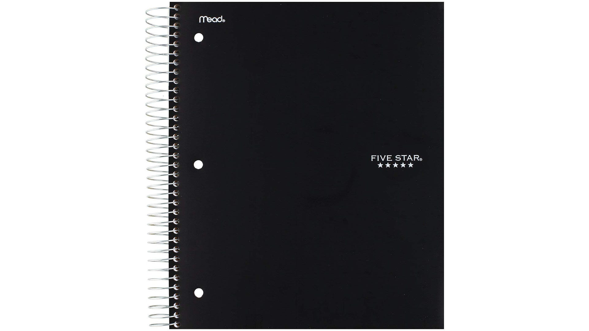 front view black five star five subject spiral notebook