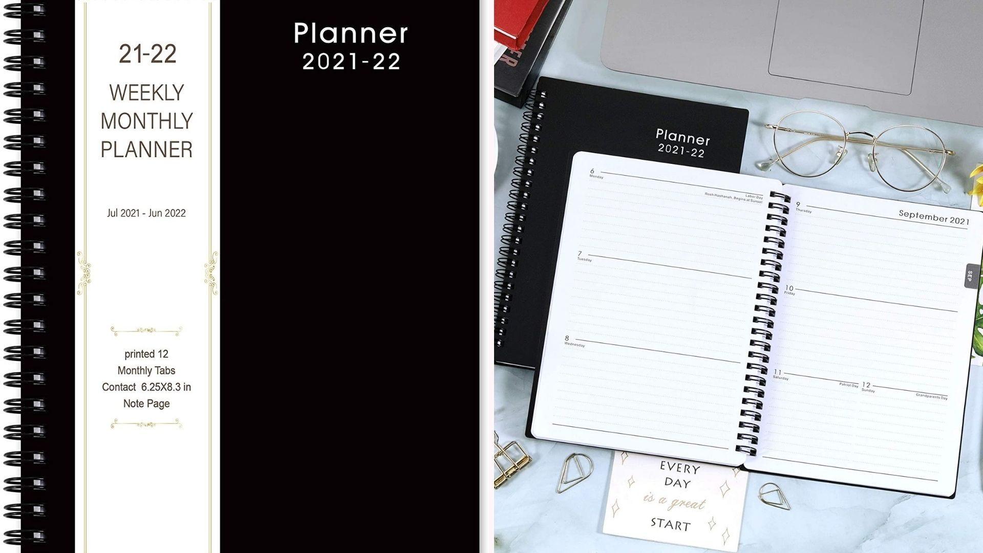 black spiral-bound planner