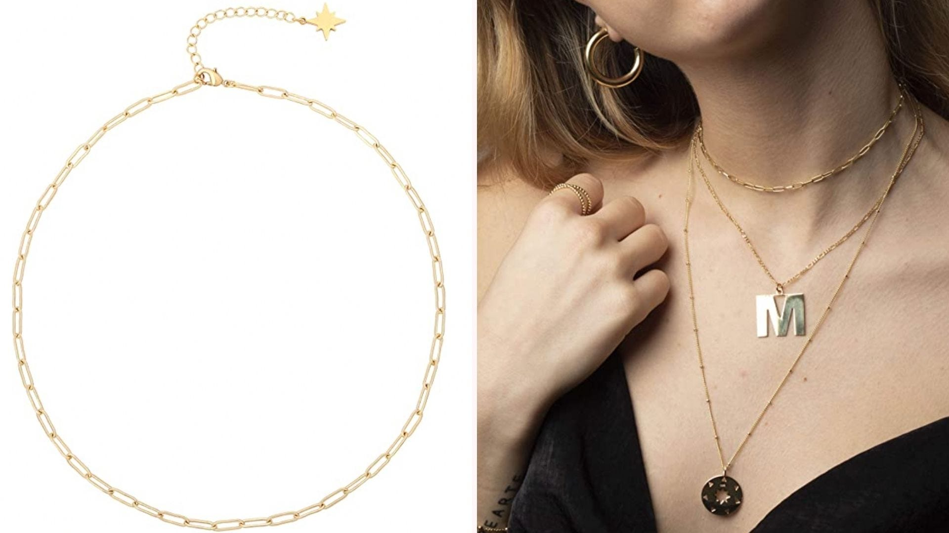 gold paperclip choker chain on white background and on a woman's neck with other gold necklaces