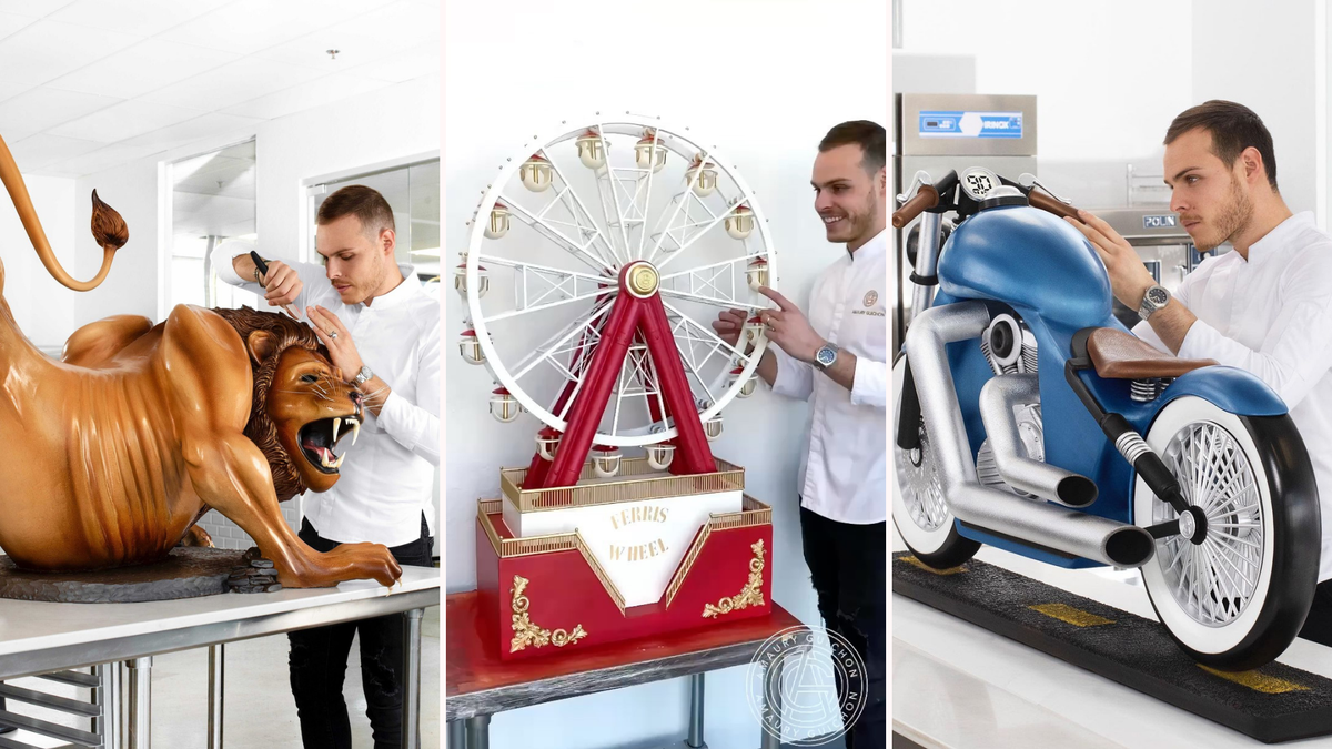 Amaury Guichon uses chocolate to create a lion, ferris wheel, and motorcycle.