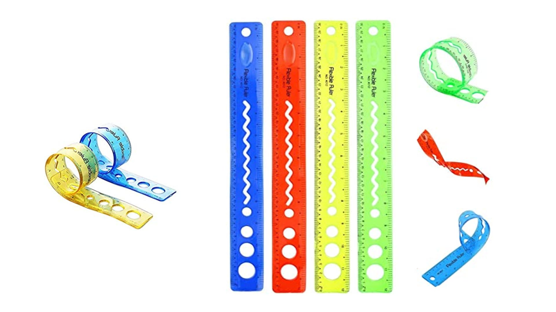 fun colored bendable rubber rules displayed straight and in various bends