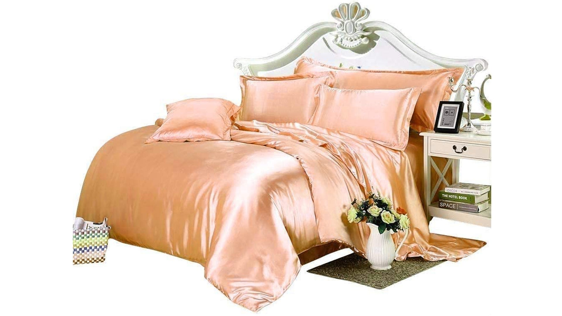 peach colored full silk bed set in decorated bedroom