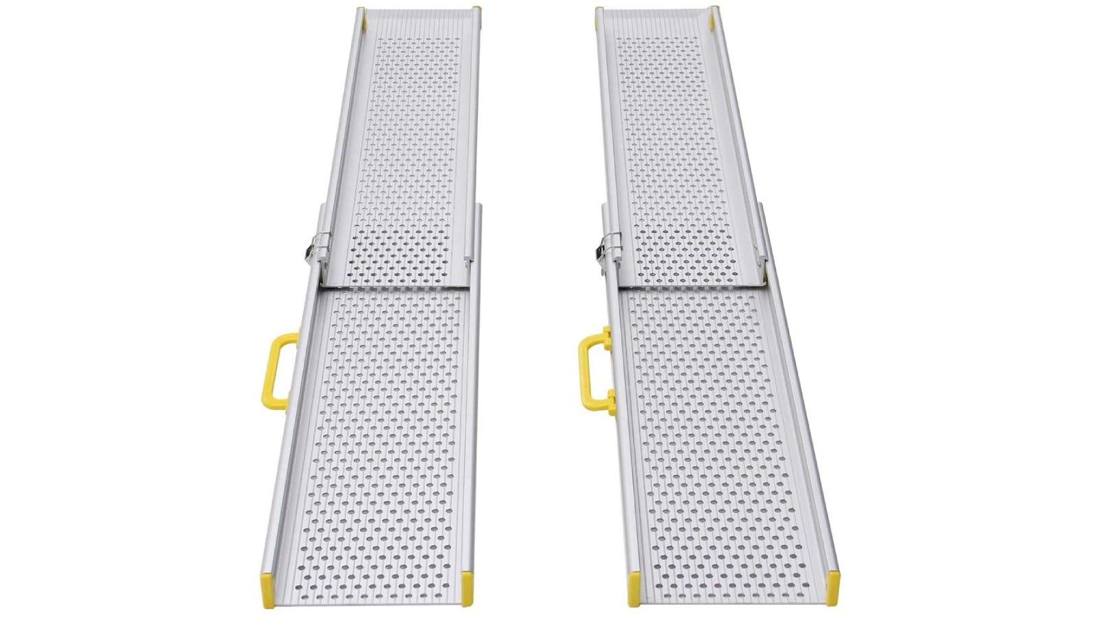 Aluminum wheelchair ramp.