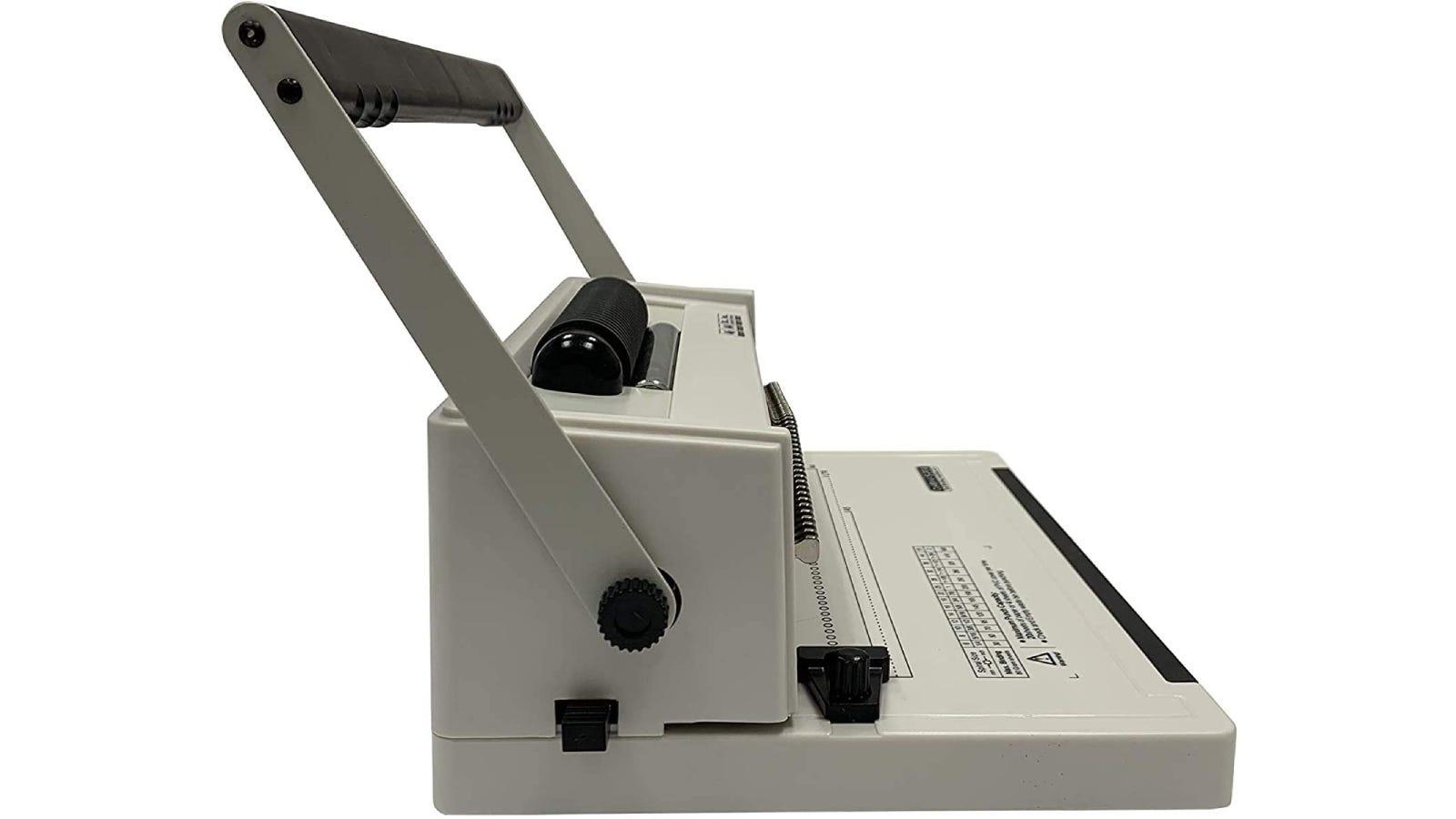 A coil binding machine.