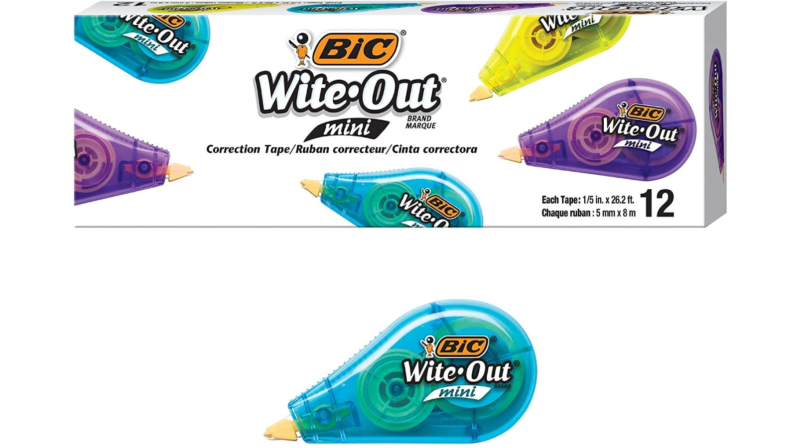 Correction tape shown with its packaging.