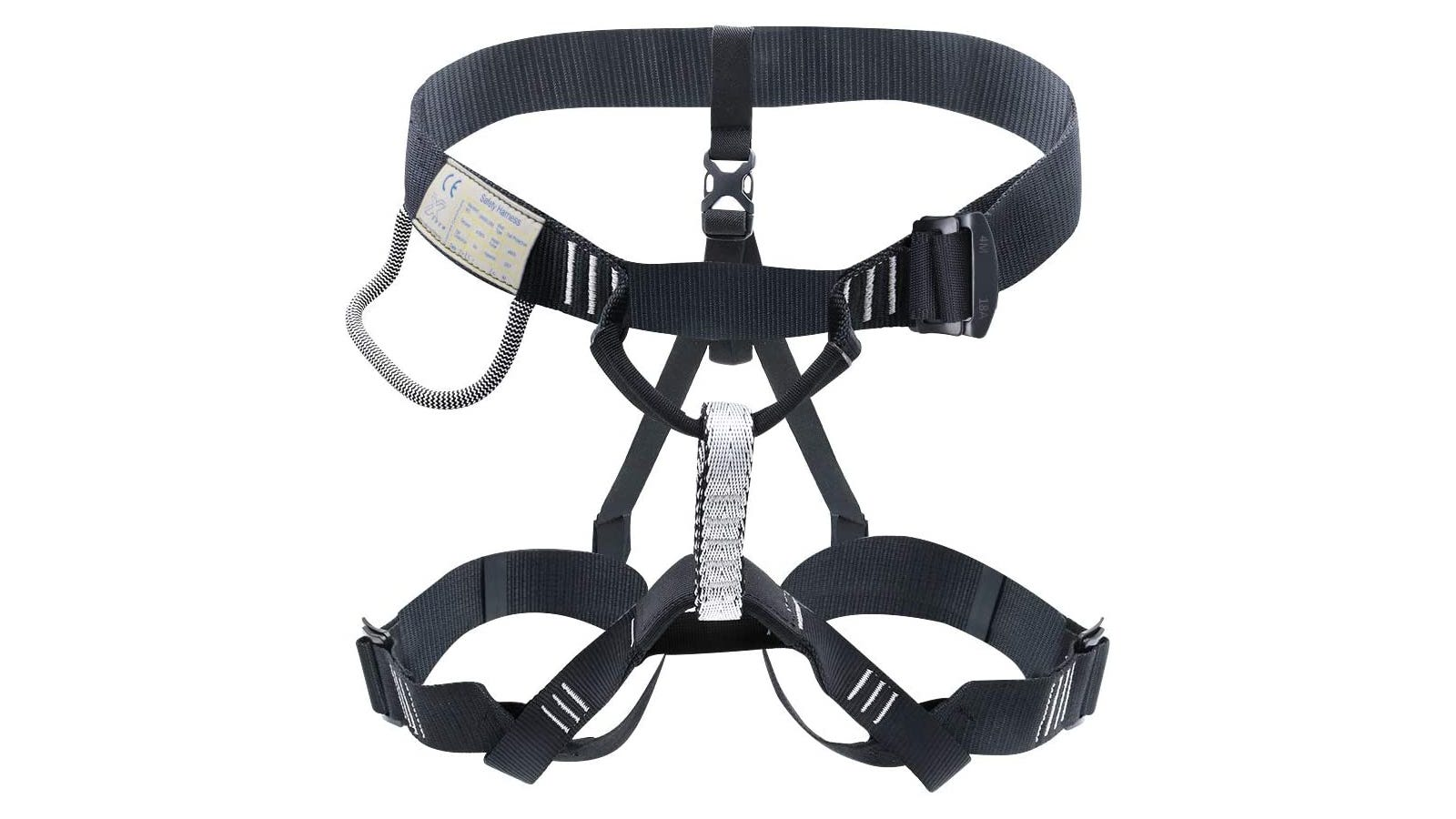 A black and white thin climbing harness