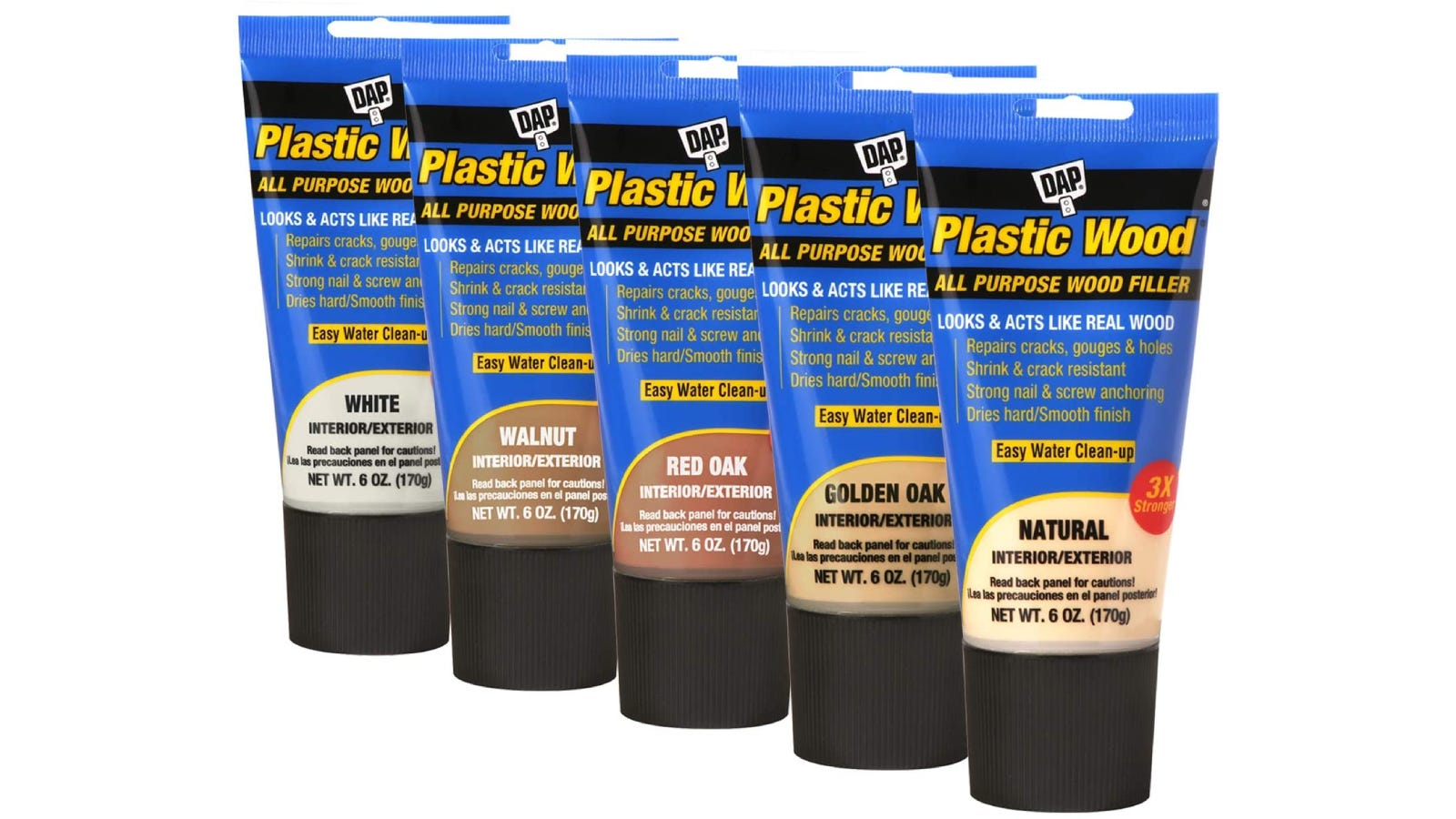 Five different tubes of DAP wood fillers for various colors/types of wood