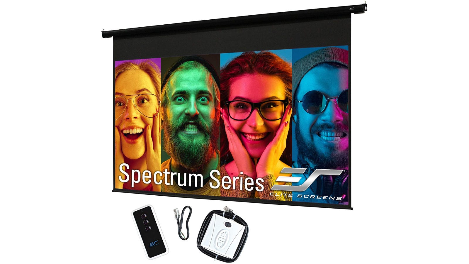 A pull-down projector screen with four different faces on it.