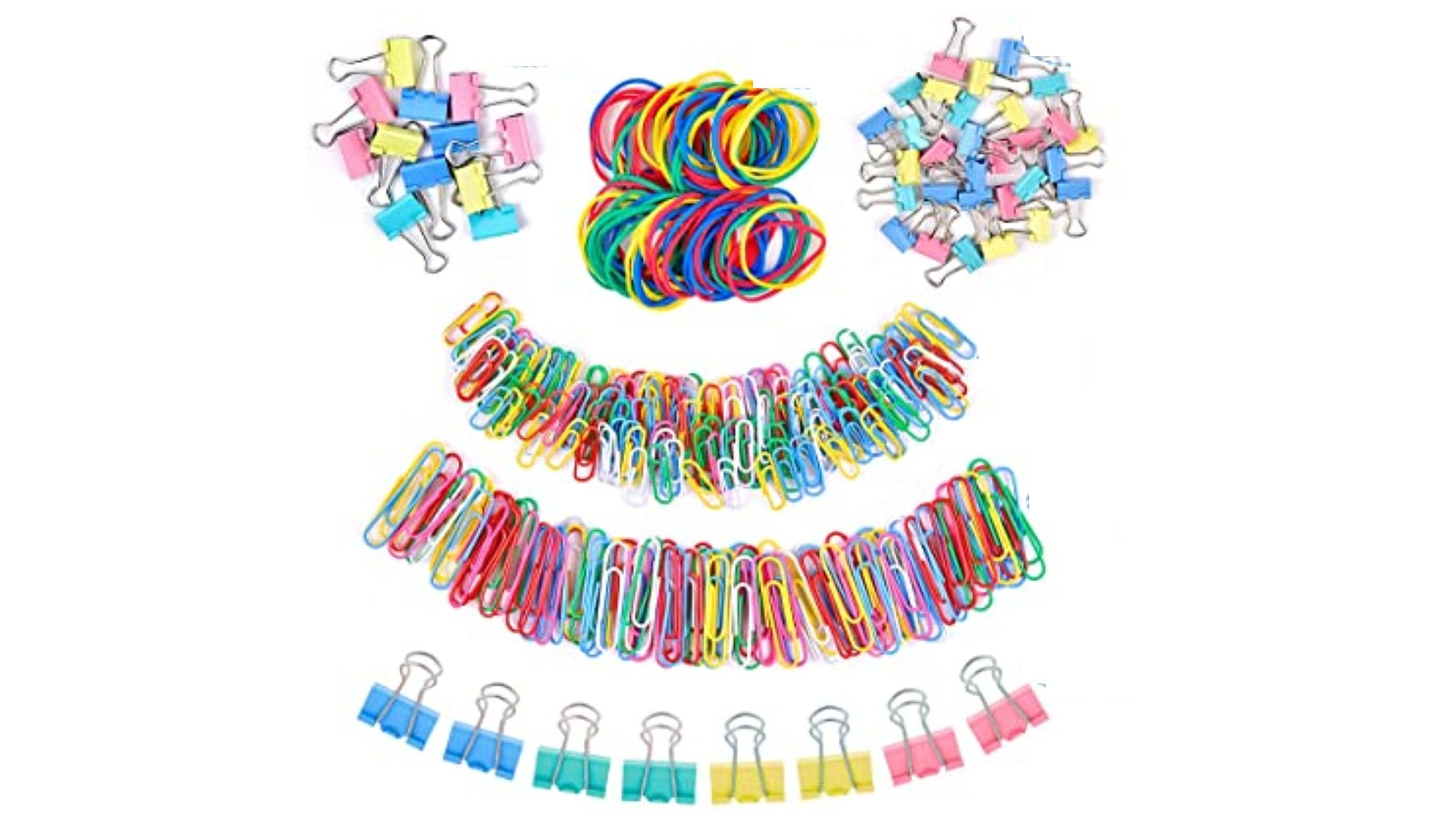 Multi-colored paper clips, binder clips, and rubber bands.