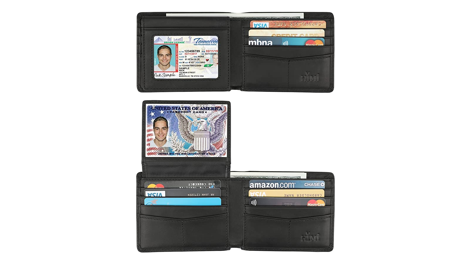 Open wallet with two windows showing license and passport card