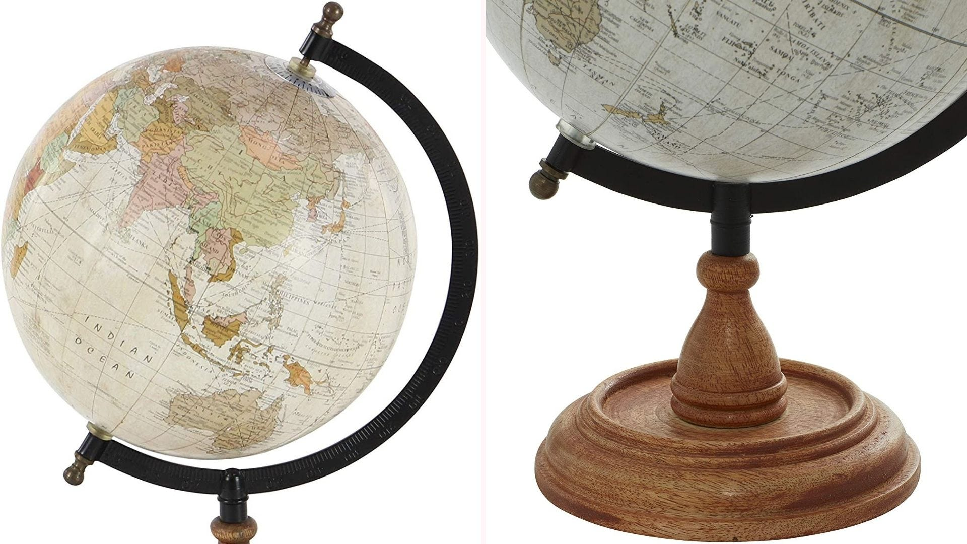 On the left, a closeup view of a 12-inch globe that features a highly detailed map depicted with an old-fashioned, muted color pattern. On the right, a closeup view of the globe's polished mango wood base.
