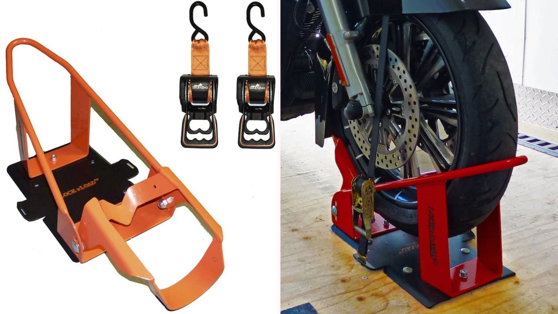 On the left, a steel black and orange wheel chock sits next to two quick-release straps. On the right, the wheel chock holds up the front tire of a motorcycle.
