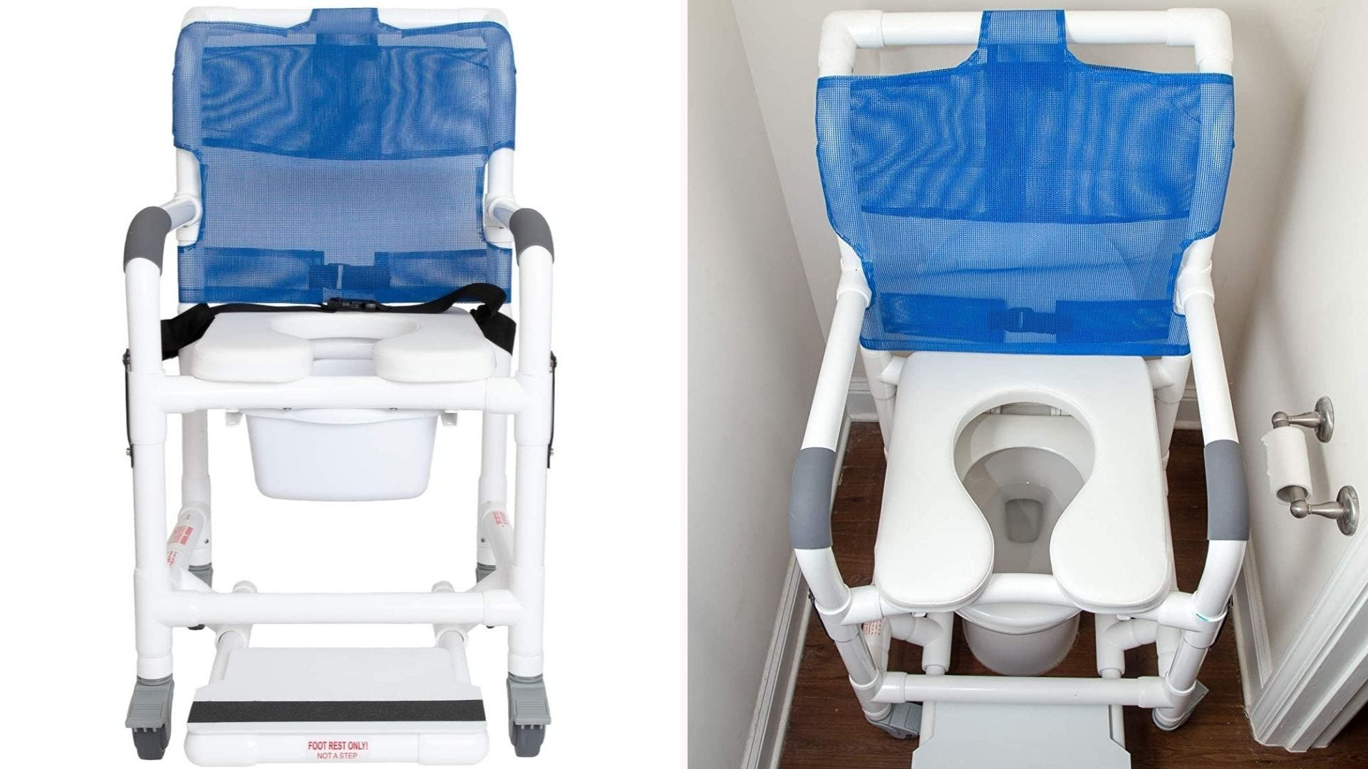 On the left, 20.5-inch tall shower chair that features PVC pipe construction with a blue mesh backing, a removable commode pail, and four-wheel movement. On the right, the chair sits just above a toilet, demonstrating its multifaceted structure and ability to fit into narrow restrooms.